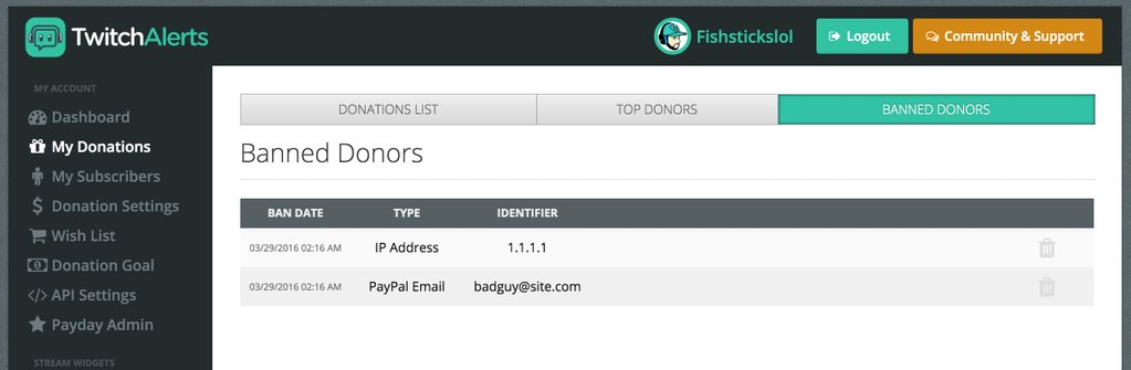 TwitchAlerts Banned Donors