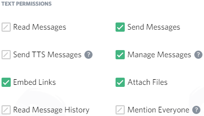 how to set up bot permissions discord