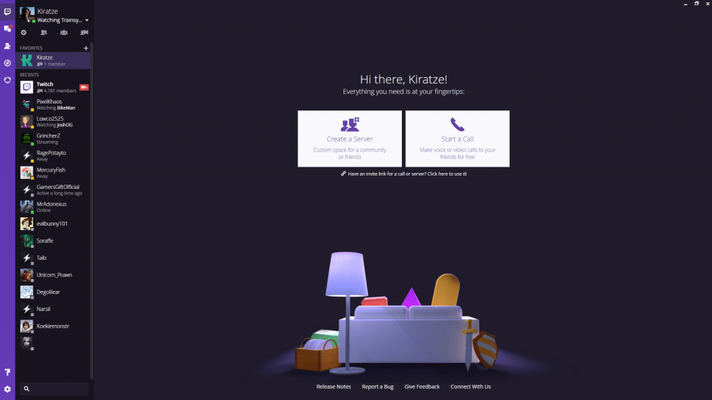 Twitch Desktop Home Page