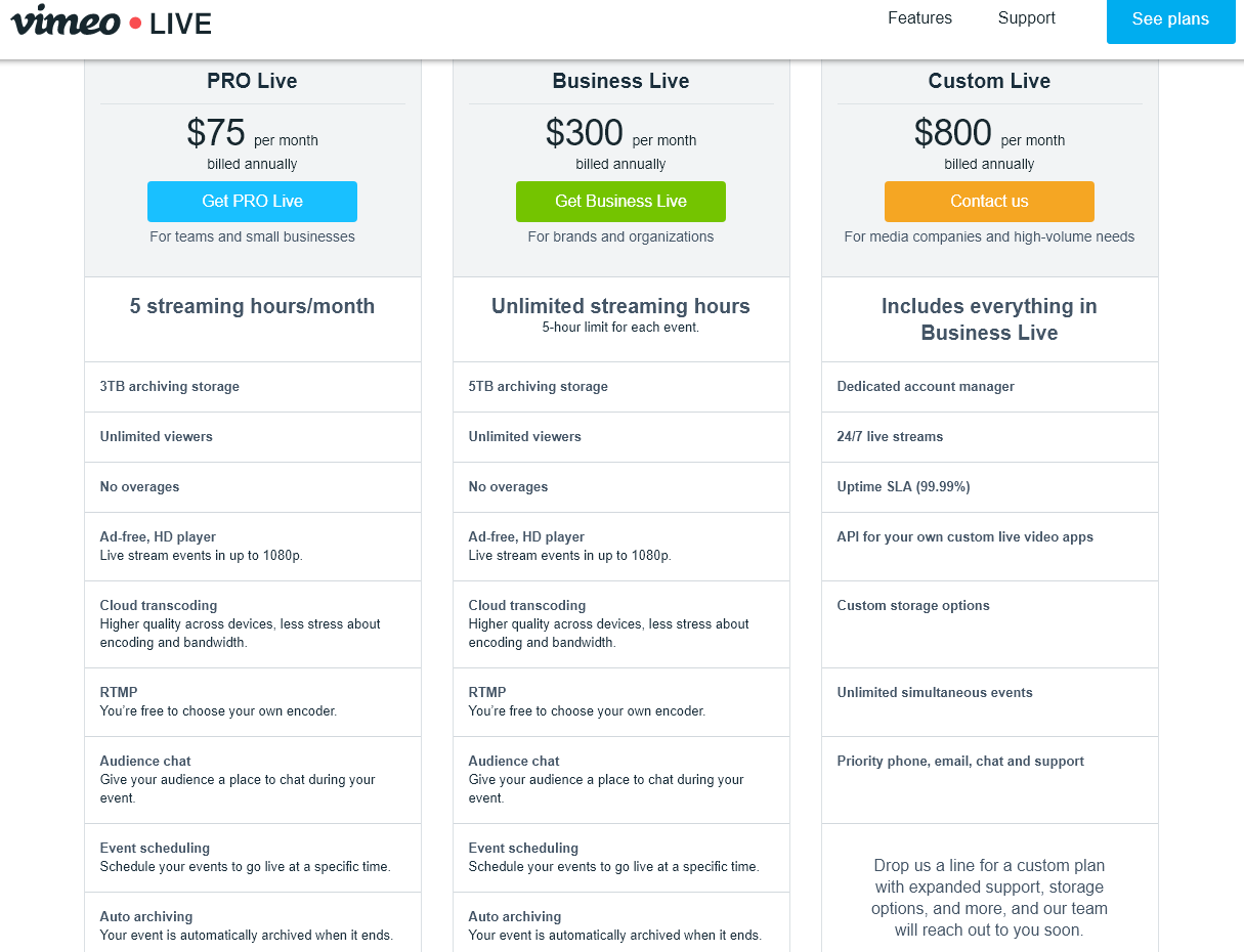 Vimeo Live Prices - StreamerSquare