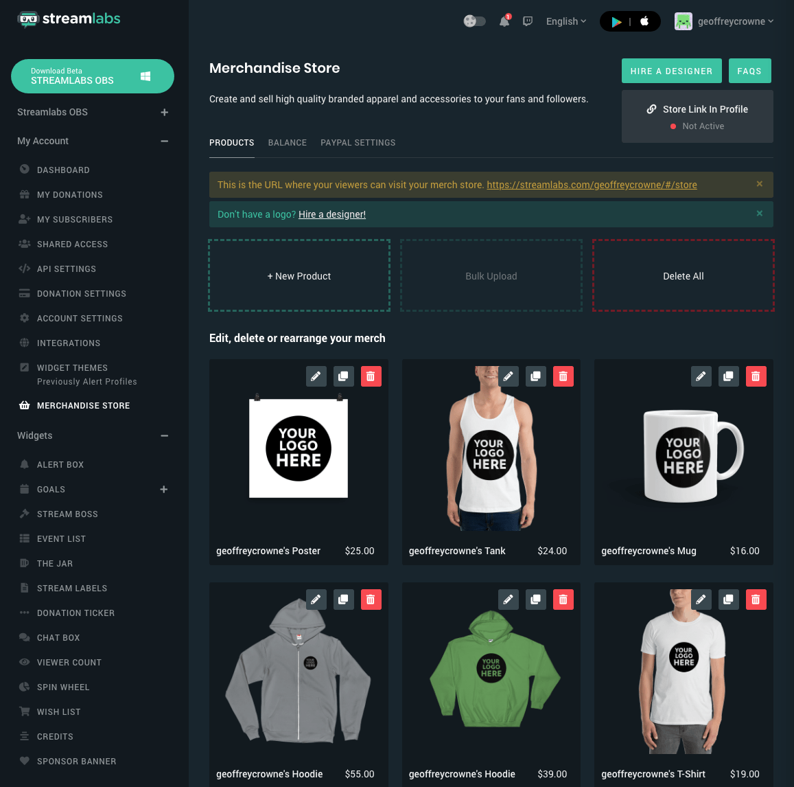 Streamlabs Merch Store