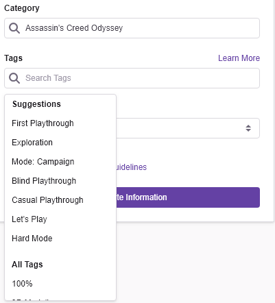 Twitch Tags Dashboard