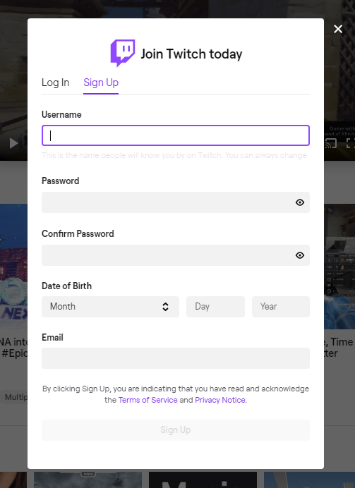 Form for creating an account on Twitch.tv