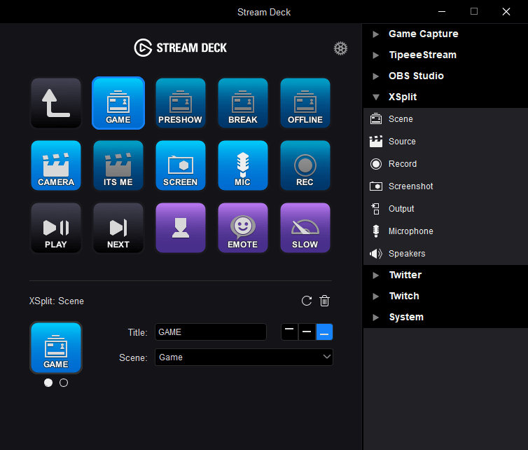Elgato Stream Deck XSplit Integration