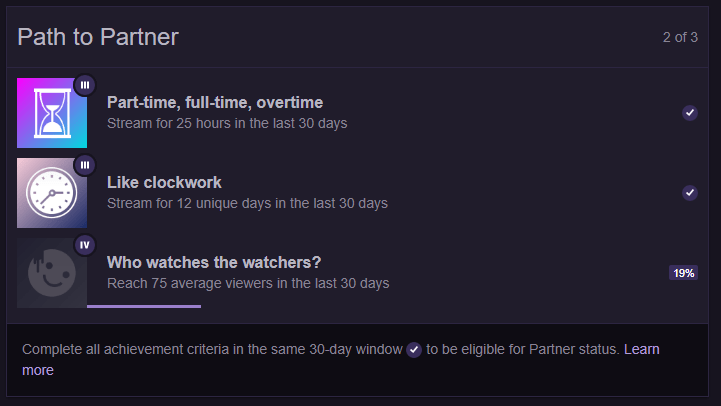 Twitch Path to Partner