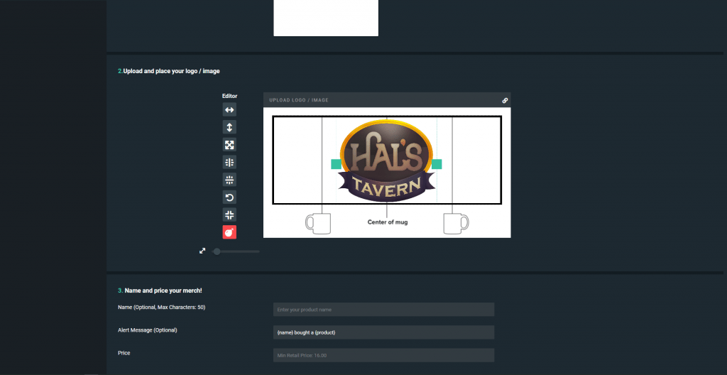 Streamlabs merch tool
