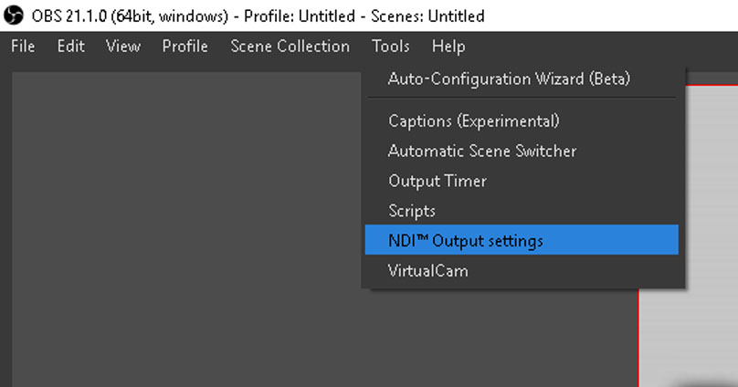 OBS NDI Output Settings