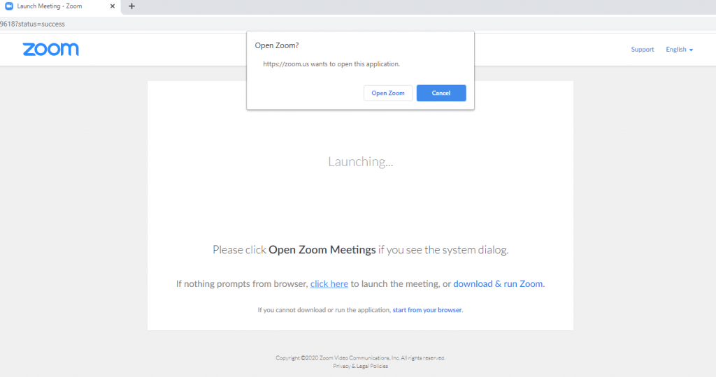 Launching Zoom from your browser